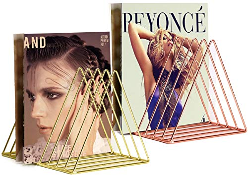 VOSTOR 2 Pcs Files Folder Stand Desktop File Organizer, Triangle Wire Magazine Holder Book Shelf, 9 Slot File Sorter Eye-catching Decoration for Indoor Office Home, Photography Props, Fashion in INS