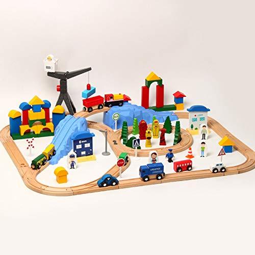 TEHWDE Kinderschienen Spielzeug Auto Adventure Toys Spiel Manipulative Rettungskräfte Squad Rail Car Model Racing Pädagogische 123 Stück Track Rail Zug Spielzeug Geburtstagsgeschenke