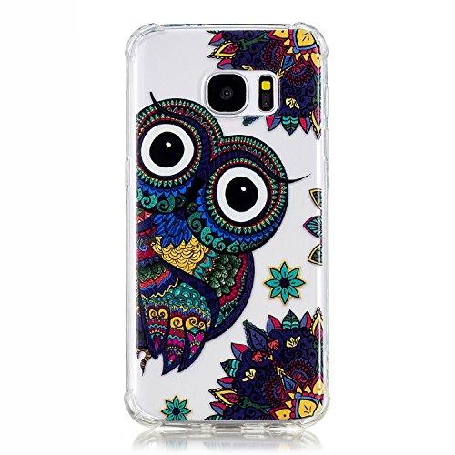 XINYIYI Silicone Coque pour Samsung Galaxy S7, Luxe Clear View Design Bumper Très Transparent Ultra Mince Coloré Peint TPU Clair Protection Complète Housse Étui Anti-Choc - Grand Oeil Aigle