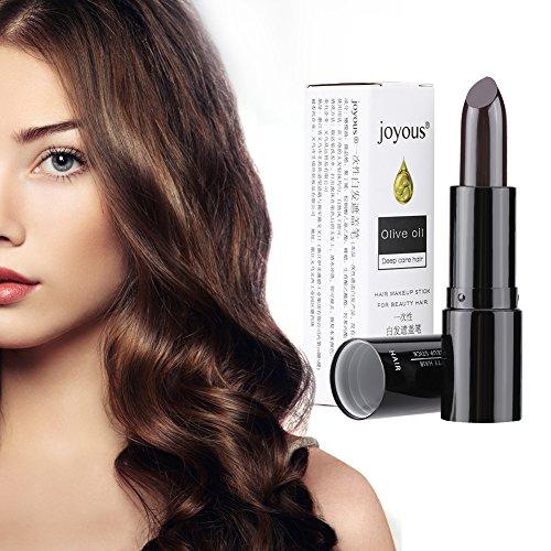 Haarfärbe Stift Temporäre Haarkreide, Haarfärbemittel Coloring White Hair Cover DIY Make-up Stick, Waschbar und Ungiftig(Dunkelbraun)