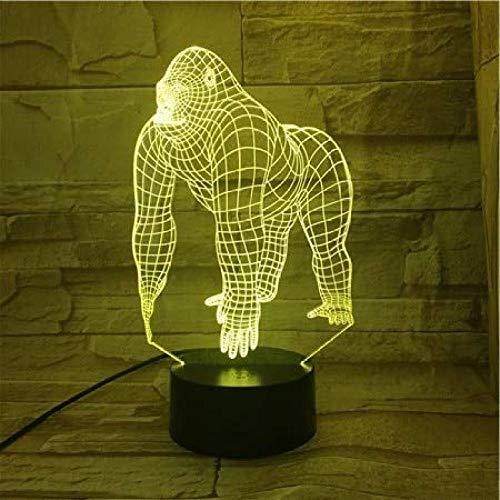 ilusión óptica 3D Luz De Noche Led Gorila ideal como regalo de cumpleaños para niños, niños y hombres Con interfaz USB, cambio de color colorido