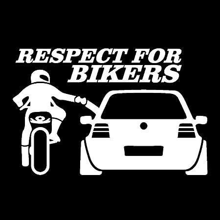 20 13cm Kreative Lustig Wasserdicht Fenster Auto Aufkleber Vinyl Respekt Für Biker Aufkleber White Auto