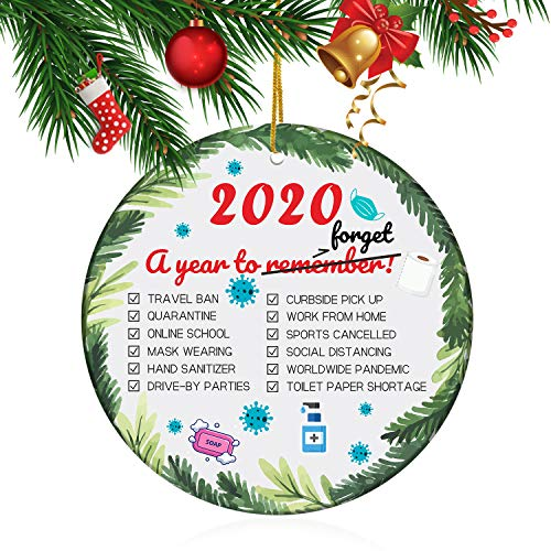2020 A Year to Forget Christmas Ornament Quarantine, Funny Quarantine Gift for Friends and Families, Quarantined Xmas Gifts, Toilet Paper Quarantine Souvenir Gift