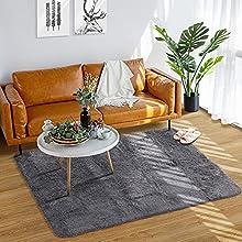 Wemk Alfombra Salon, Alfombra Pelo Largo Super Suave, Alfombra Rectángulo Shaggy Ideal para el Dormitorio, Sala de Estar - Antideslizante, Estilo Moderno, 100 x 160CM, Gris