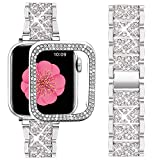 Supoix Compatible with Apple Watch Band 42mm + Case, Women Jewelry Bling Diamond Metal Strap & 2Pack Bumper Frame Screen Protector for iWatch Series 3/2/1(Silver/42mm)