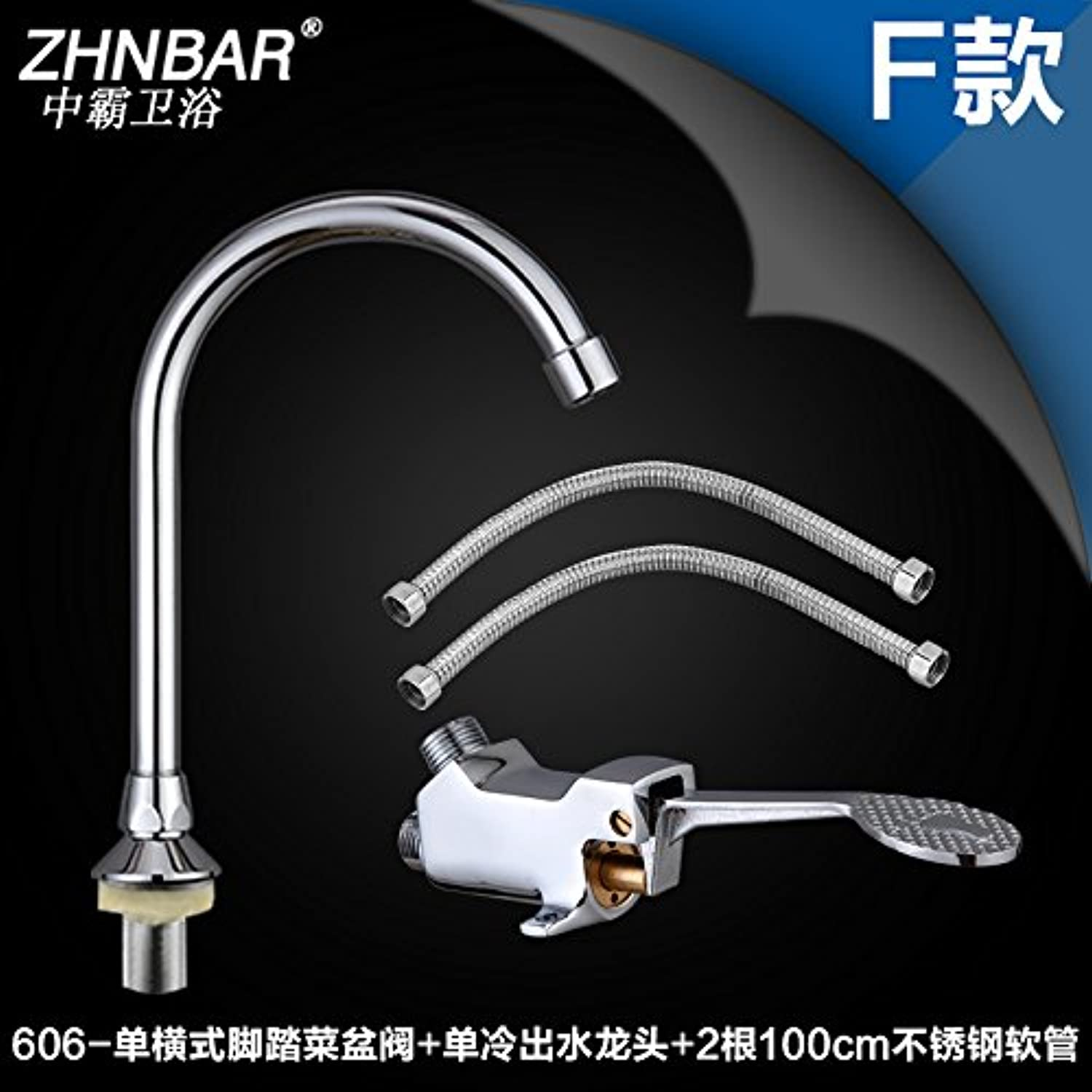 Hlluya Professional Sink Mixer Tap Kitchen Faucet All copper hospital Foot Pedal Valve Foot dish basin single cold kitchen faucet lab foot basin faucet,F