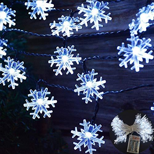 Viilich Guirnalda de luces de copo de nieve, 5 m 50 luces LED de Navidad, funciona con pilas con 2 modos de iluminación para árbol de Navidad,hogar,jardín,dormitorio,luces de fiesta,color blanco frío