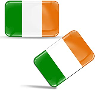 2 x 3D Domed Silicone Stickers Decals Ireland National Irish Flag Car Motorcycle Helmet F 28