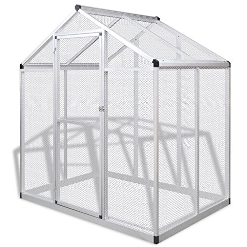 vidaXL Outdoor Aviary Aluminium 178 x 122 x 194 cm Bird Cage House Garden Habitat