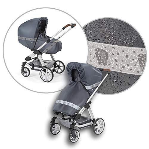 reer DesignLine RainSafe Classic+ Regenschutz für Kombi-Kinderwagen mit Reißverschluss, Reflektoren und Aufbewahrungstasche