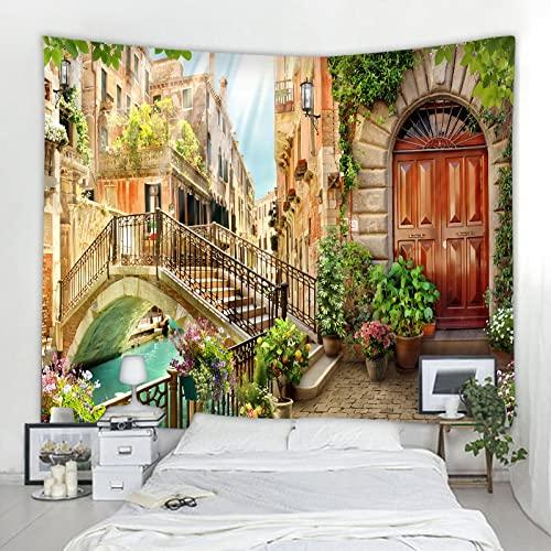 Tapiz de decoración de paisaje nórdico 3D para colgar en la pared, fondo art deco, manta de tela, tela colgante A4 130x150cm