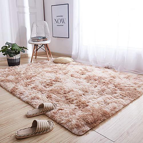 LARAKA Alfombra de teñido de felpa suave alfombras para sala de estar, dormitorio, alfombra antideslizante de absorción de agua, alfombra de piel sintética
