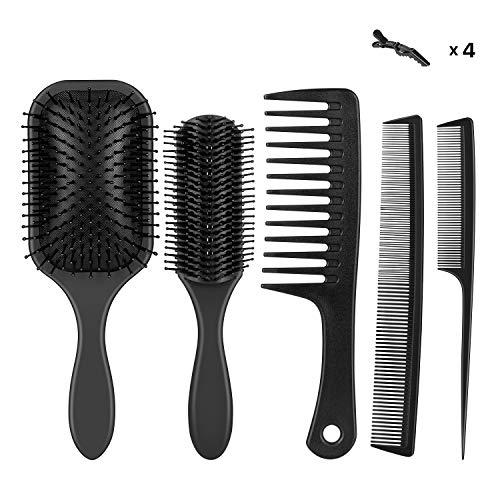 Newdora 5 Stück Haarbürste Professioneller Rundbürste für Langes, Dickes, Welliges Haar, Haarbürste Dame, Herren und Kinder - 5 Haarbürste + 4 Haarspangen