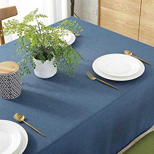 YUQIBXC - Mantel rectangular elegante de algodón y lino, color sólido, a prueba de polvo, lavable, para cocina, al aire libre, 120 x 160 cm, color azul marino