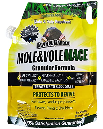 Nature's Mace Mole & Vole Repellent 10lb. Granular Bag/Covers 8,000 Sq. Ft. / Keep Moles & Voles Out of Your Lawn and Garden/Guaranteed to Repel Moles/Safe to use Around Home, Children, & Plants