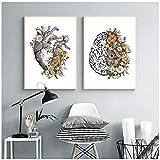 nr Vintage Anatomie Floral Herz Gehirn Wandkunst Leinwand