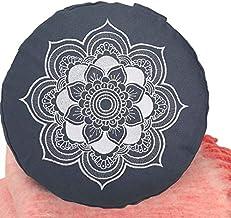 Meditationskissen Yogakissen Celine Madeleine mit Stickerei Bezug waschbar, gefülltes Innenkissen mit Bio-Dinkelspelzen 33 x 15 cm geeignet für Anfänger und Geübte