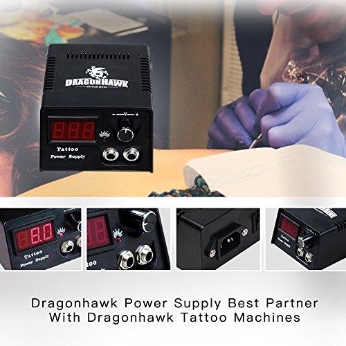 Dragonhawk Complete Tattoo Kit 2pcs Coil Tattoo Machine Tattoo Guns Color Immortal Inks Power Supply Needles Tips Grips Tattoo Supplies for Tattoo Artists