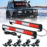 LED Traffic Advisor Strobe Light Bars XTAUTO 32-LED 2 in 1 Windshield Dash Interior Emergency Flashing Warning Safety Police Lights with Suction Cups for Car Truck Construction Vehicles Red White