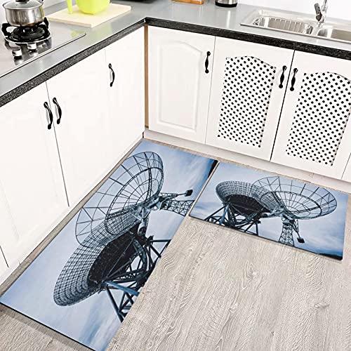 Alfombras Cocina Goma Alfombra de Baño Ducha 2PCS Sunset Communication Radiotelescopio en Forma de Plato Ciencia astronómica alfombras de Cocina Antideslizantes Lavables