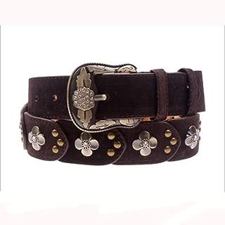 Ladies Leather Belt Diamond Vintage Women's Patch Antique Belt (Color : Purple)