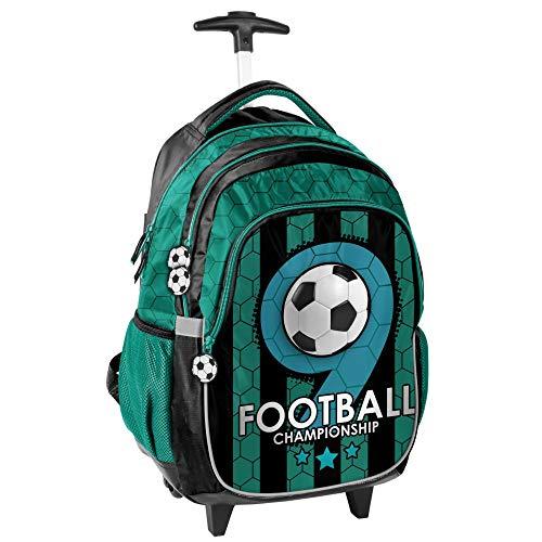 Maleta con ruedas para niños (45 x 29 x 24 cm), diseño de fútbol, color verde y negro