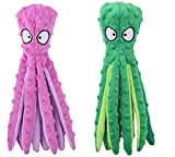 Morvsspe Pet Interactive Dog Toys for Small and Medium Dogs, Durable Plush Squeaky Octopus Dog Toy for Puppy Teething Chew Toys (Purple+Green)