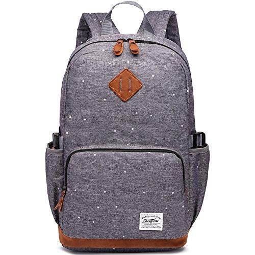 Kaukko Damen Rucksack Studenten Backpack Laptop College Schulrucksack Reiseeucksack, (05) Grau, Large