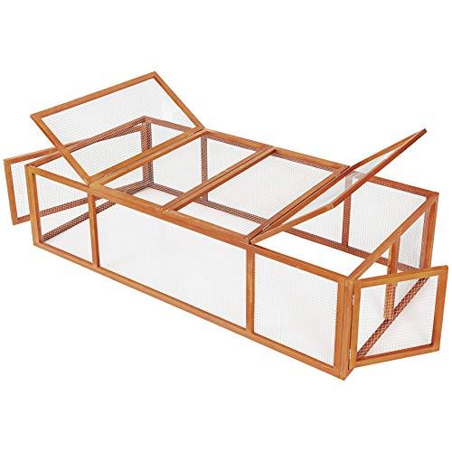 TecTake tecake 403241 Cage enclos clapier XXL à Lapins lièvre cobaye | (LxlxH) : 181 x 90 x 48 cm