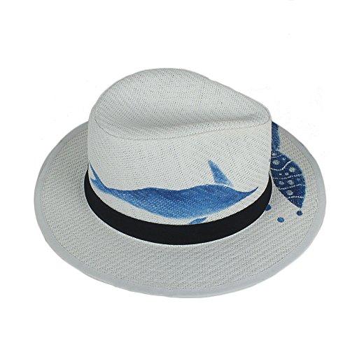 Ocio Sombreros de Sol Fedora Sun Hat para Mujeres con Peces Dibujados a Mano Summer Panama Hat por diseño Original Sombreros de Sol de Verano (Color : Blanco, tamaño : 57-58cm)
