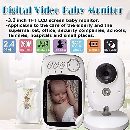 Wireless Video Color Babyfoon Met Camera En Audio, 3,2 Inch LCD-scherm, Infrarood Night Vision, Temperature Monitoring & 2-weg Intercom, Home Security Camera For Baby/Nanny/Ouderen/Dier