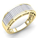 Dazzlingrock Collection 0.40 Carat (Ctw) 10K Round Diamond Men's Hip Hop Anniversary Wedding Band, Yellow Gold, Size 11