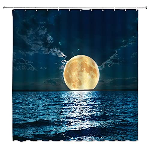 Ocean Moon Shower Curtain Full Moon Over Ocean Sky Landscapes Planet Dreamy Navy Blue Clouds Stars Tranquil Sea Surface Night Nature Seascape Scene Decor Fabric Bathroom Curtain Set with Hooks