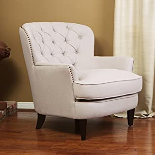 Christopher Knight Home Alfred Royal Vintage Tufted Fabric Club, Contemporary Lounge Accent Chair, Natural, Ivory