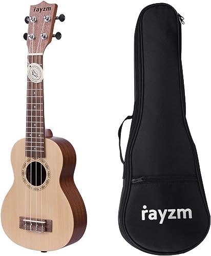 """Rayzm Ukelele Soprano con Bolsa, Ukelele de Iniciación 21"""" con Cuerdas Aquila de Nylon originales,Tapa de pícea, lado..."""