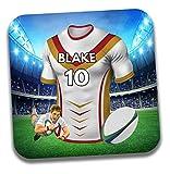 Cadeau personnalisé–Maillot de rugby sur le thème Dessous-de-verre à bière/mat–Cadeau d'anniversaire–Cadeau–catalan Dragons Couleurs
