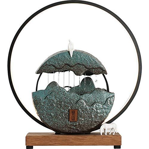 Indoor Fountain Decoración De Casa con Anillo De Luz LED - Fuente Decorativa Interior De Zen - Creativo Adornos De Feng Shui - Cerámica Ambiental, Cascada for Home Ornament Decoration