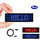 LED Name tag for Business, Rechargeable LED Card Screen for Bar Hotel Party Supermarket School and Restaurant44 x 11 Pixels and USB Programming Digital Display - LED Name Badge Blue
