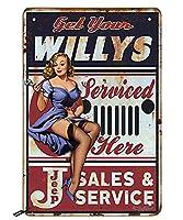 Swono Get Your Willys ブリキ看板 ピンナップガール サービスドヒア ヴィンテージメタルブリキ看板 メンズ レディース 壁装飾 バー レストラン カフェ パブ用 12x8インチ