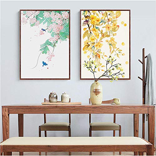 Hojas otoño Kitty Plant lienzo pintura acuarela carteles