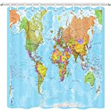 JAWO World Map Shower Curtain for Bathroom, Educational Geography Countries Capital Cities Bathroom Curtain, Polyester Fabric Bath Curtains with Hooks Washable 69W X 70L Inches