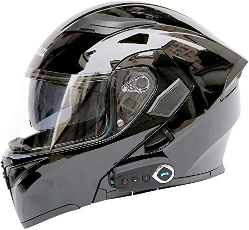 Feeyond Casco Bluetooth para Motocicleta, Casco Completo con Visera Solar Doble Modular, Casco Certificado por Dot, Sistema De Comunicación Walkie-Talkie Integrado De Transmisión MP3 FM,D,XXL