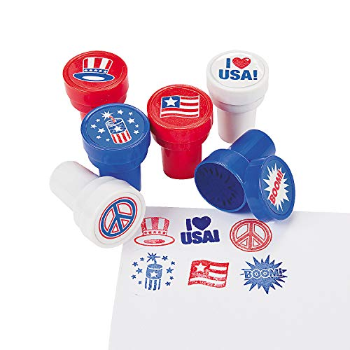 Fun Express 24 Piece Patriotic 4th of July Stamper Party Favor Supplies Assorted for Kids Arts and...