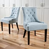 Christopher Knight Home Hayden Fabric Dining Chairs, 2-Pcs Set, Light Sky