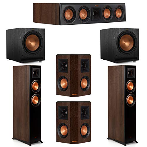 Great Deal! Klipsch 5.2 Walnut System 2 RP-5000F Floorstanding Speakers, 1 Klipsch RP-404C Center Sp...