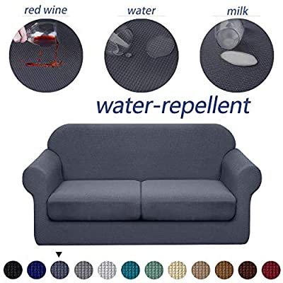 Granbest 3 Piece Premium Water-Repellent Couch Slipcover for 2 Cushion Couch Super Soft Loveseat Sofa Covers High Stretch Separate Cushion Couch Covers for Dogs Furniture Cover (Medium, Gray)