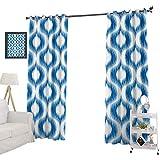 YUAZHOQI Cortina de ventana con diseño de damasco de Ikat con motivos borrosos sobre hilos de trama y urdimbre, cortinas opacas para dormitorio de niños de 132 x 160 cm, azul y blanco