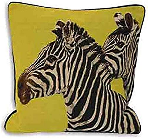 Paoletti Twin Zebra Velvet Piped Cushion Cover, Lime, 45 X 45 cm