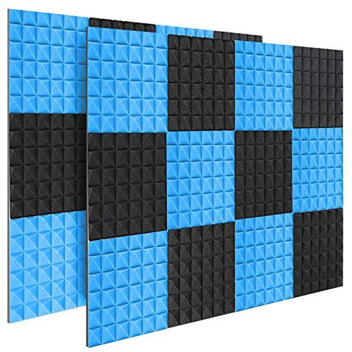 24 x Platten Akustikschaumstoff Noppenschaumstoff Akustik Schaumstoff Akustische Schalldämmplatten zur effektiven Akustik Dämmung für Studio Hause ca. 25x25x5cm (Schwarz & Blau)