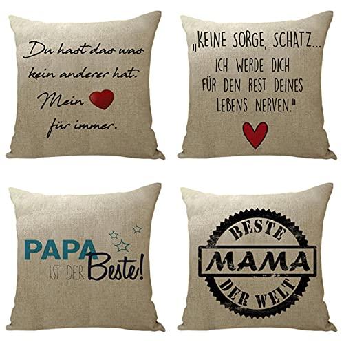 KaiXINSun Throw Pillow Fundas Paquete de 4 Funda de Almohada de 18X18 Pulgadas Funda Decorativa de Sofá de Casa Cuadrada Cremallera Invisible 45X45Cm Patrón de Letras de Amor Rojas